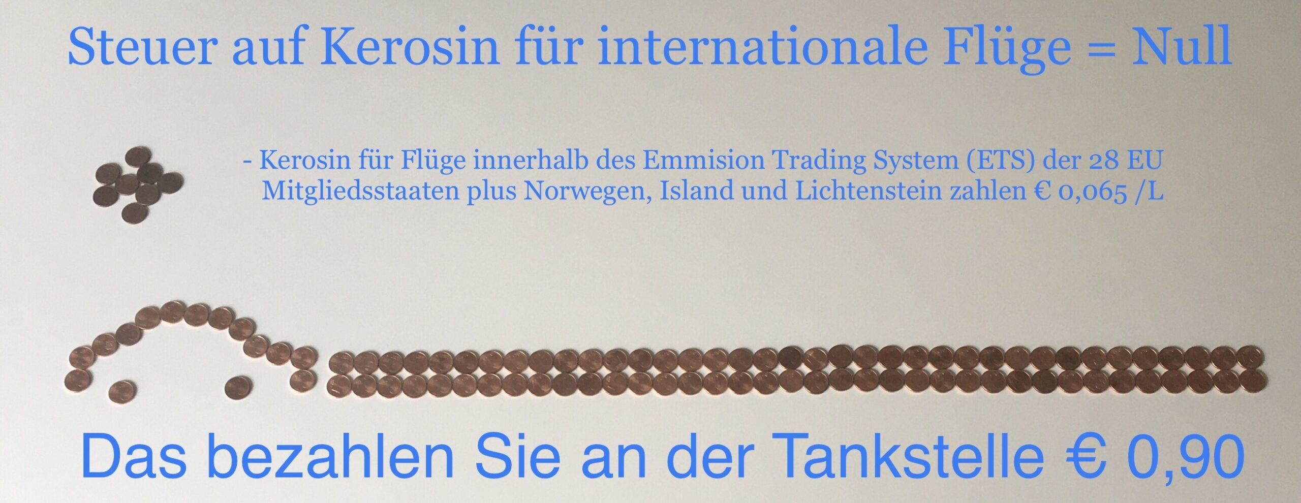 Steuer auf Kerosin international, innerhalb EU ETS und Benzin